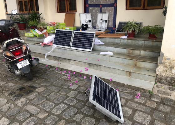 solar panels for lights at Shugsep Nunnery