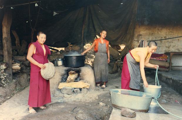 Tibetan Buddhist nuns, Tibetan Nuns Project, housing, outdoor kitchen