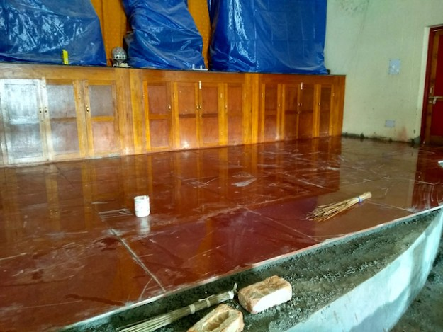 Shugsep temple floor repair