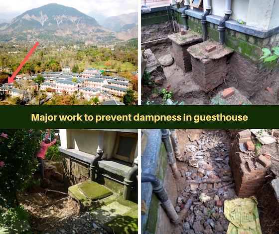 work to prevent dampness in Dolma Ling guesthouse copy