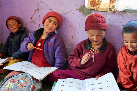 young girls study at Dorjee Zong Nunnery photo Olivier Adam