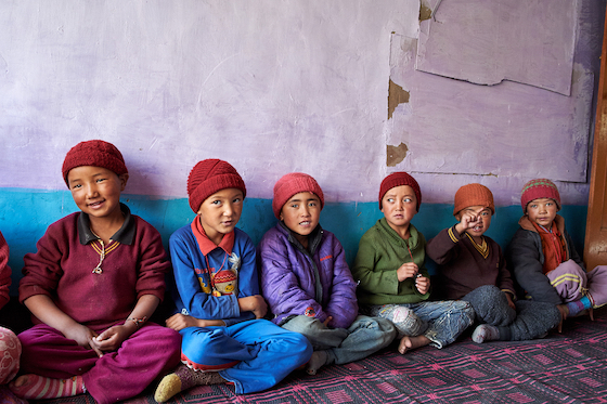 young students at Dorjee Zong Nunnery by Olivier Adam