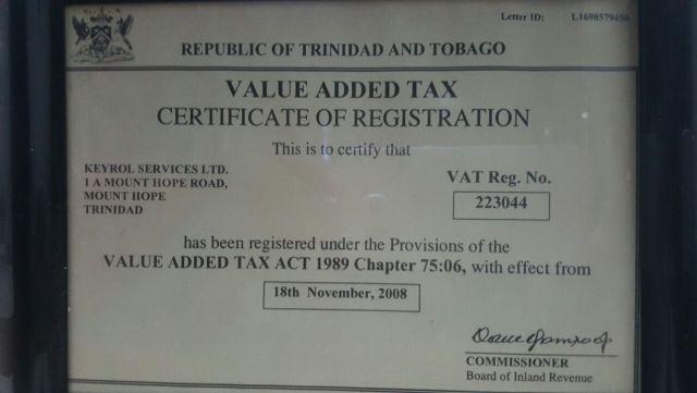 keyrol services ltd vat certificate