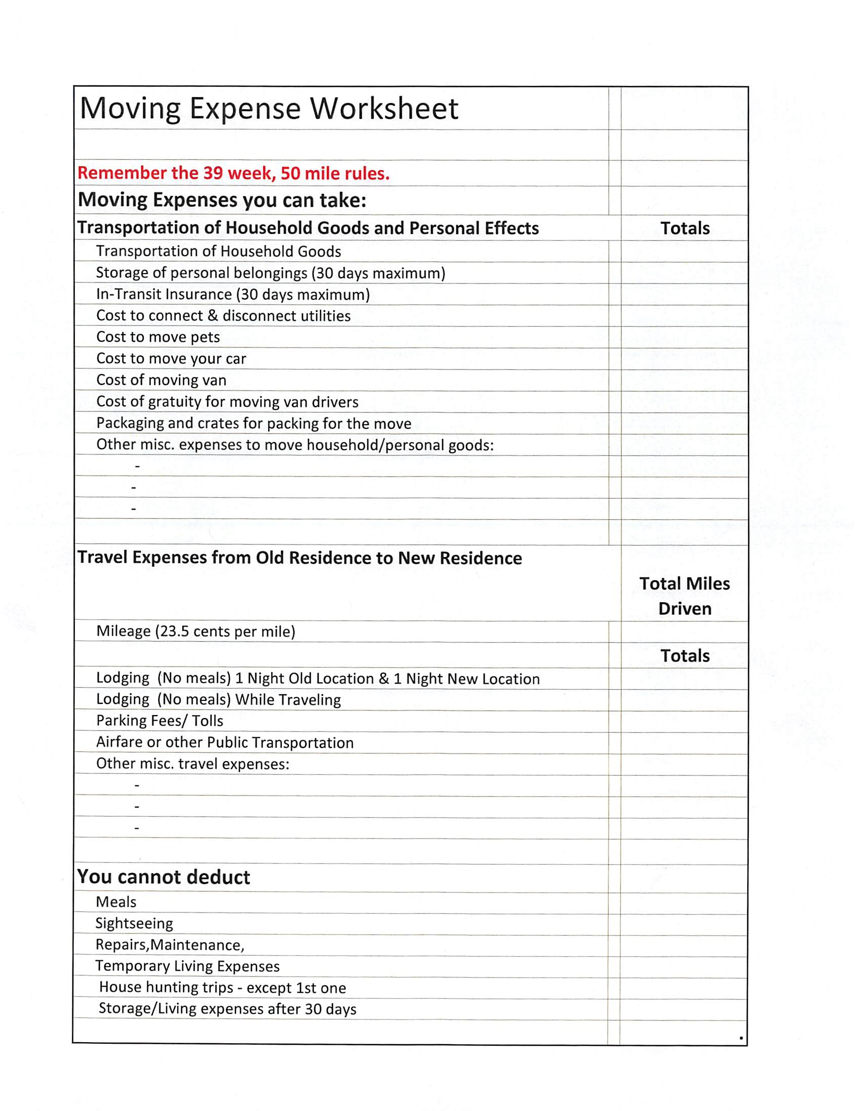 Itemized Deduction Worksheet
