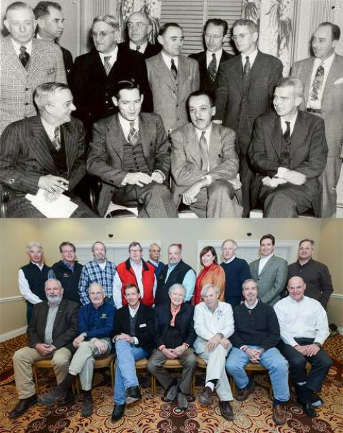 The incorporating board of directors, top, and current TWF board members 70 years later.