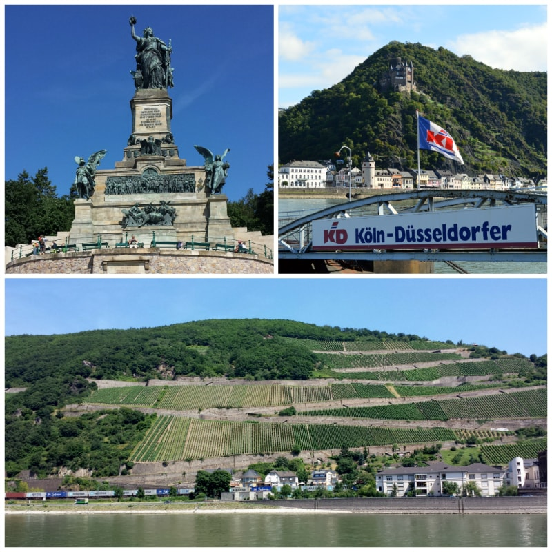 Rhine River cruise, Niederwald Monument, Vine Yards Rudesheim and View Katz Castle in St. Goearshausen Germany to-europe.com
