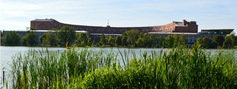 Nazi Rally Grounds, Congress Hall from across the lake Dutzendteich in Nuremberg at Nazi Rally Grounds