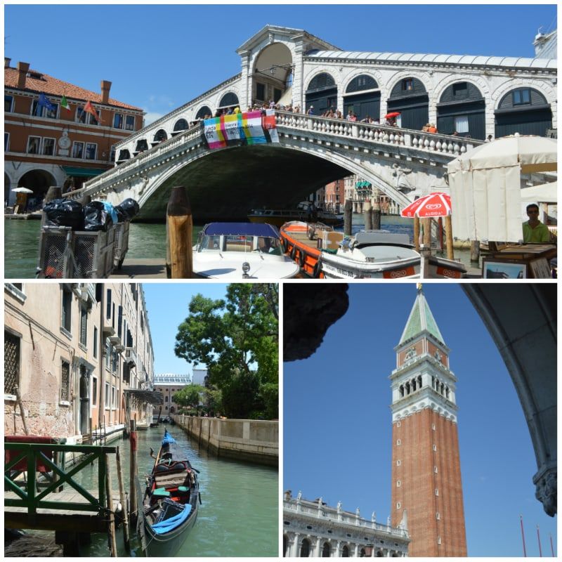 Frankfurt to Rome Rail Tour, Rialto Brigde, Chanel and St. Mark's Campanile Venice Italy To-europe