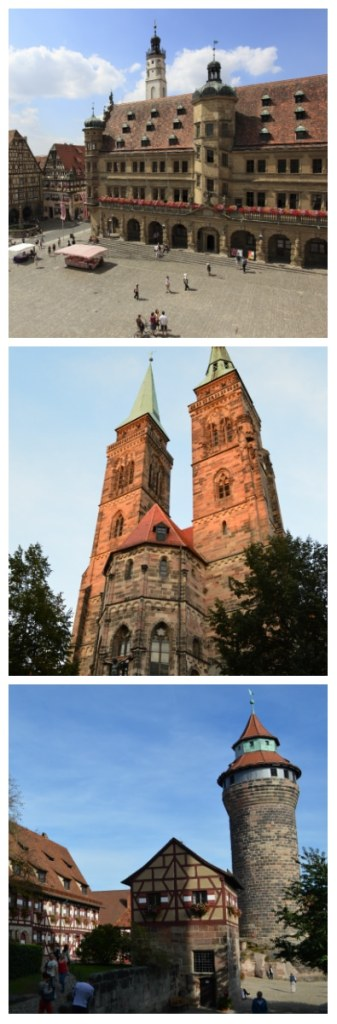 Town Hall of Rotheburg ob der Tauber, Sebaldus Church and Imperial Castle in Nuremberg Germany