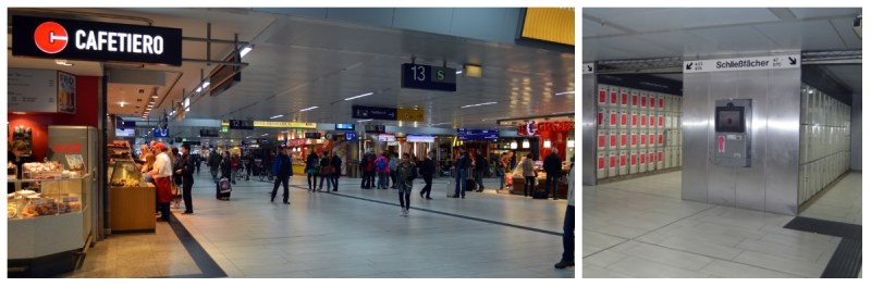 German Holiday Tours by Rail, Lockers for baggage and shopping and food court at major stations