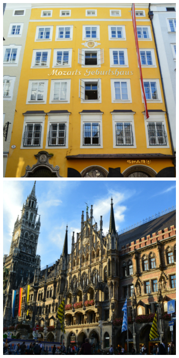 Blue Danube Rail Tour, Melk Cruise, Mozart Birth Place Salzburg Austria and Munich New Town Hall Germany to-europe.com