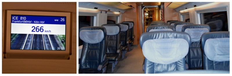 German Holiday Tours by Rail, Speed Display and First Class Compartment on the ICE