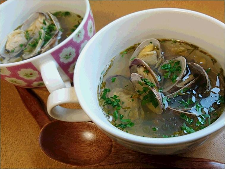 アカモクとアサリのスープ