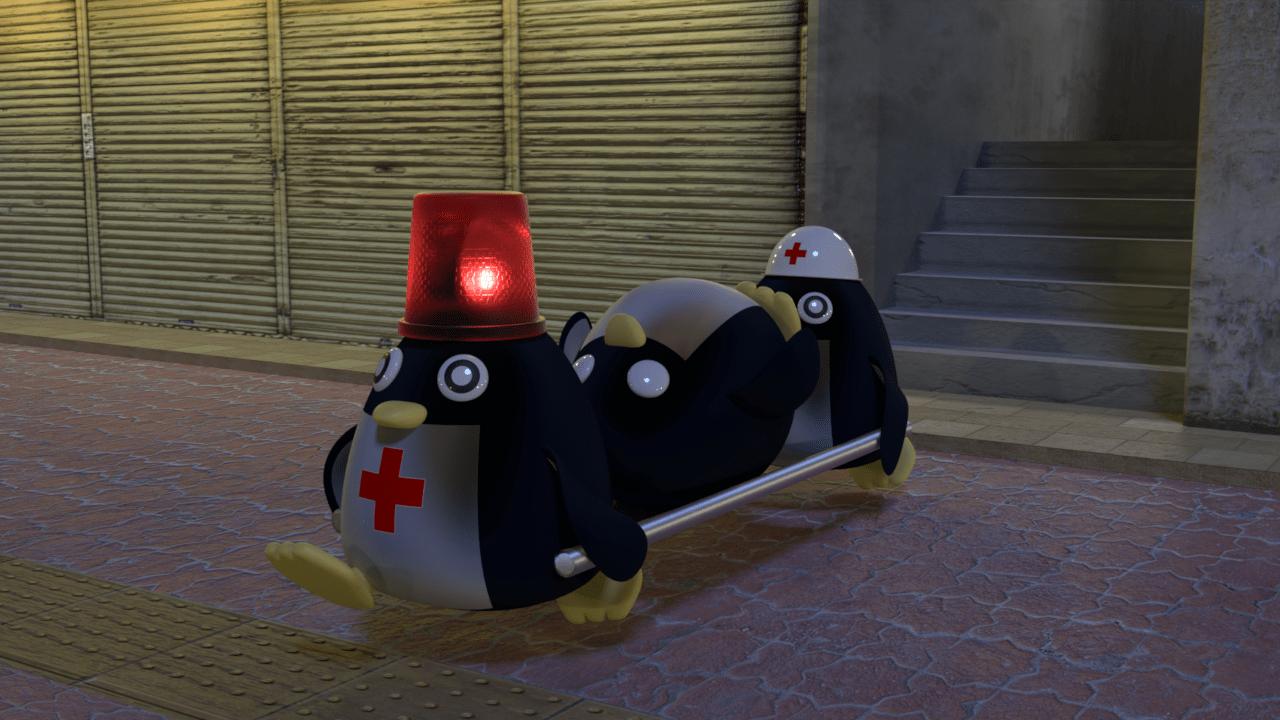 救急ペンギンに運ばれる患者ペンギン