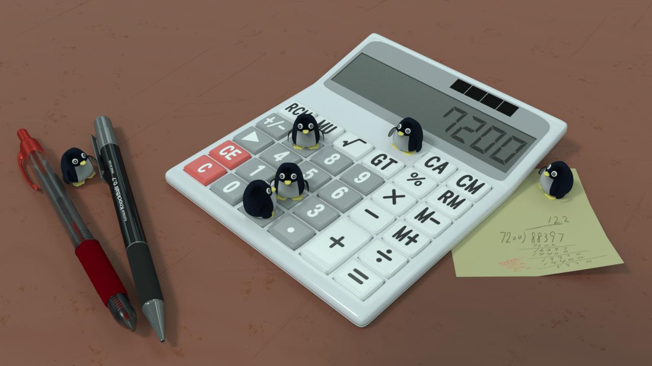 電卓で遊ぶペンギン