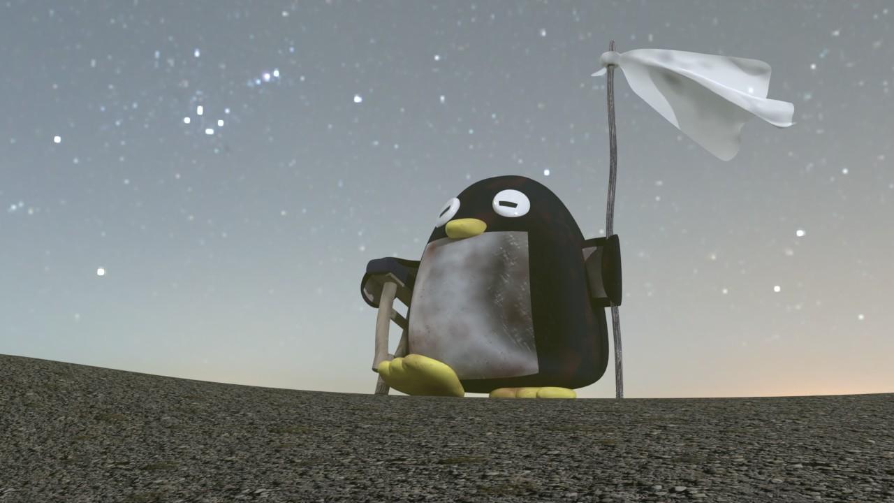松葉杖をついて白旗を揚げるペンギン