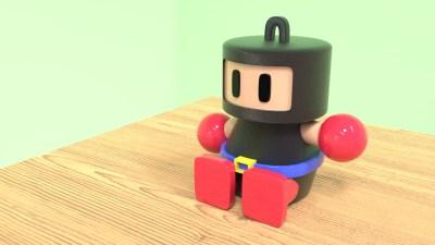 ボンバーマンフィギュアのCG made by blender3d