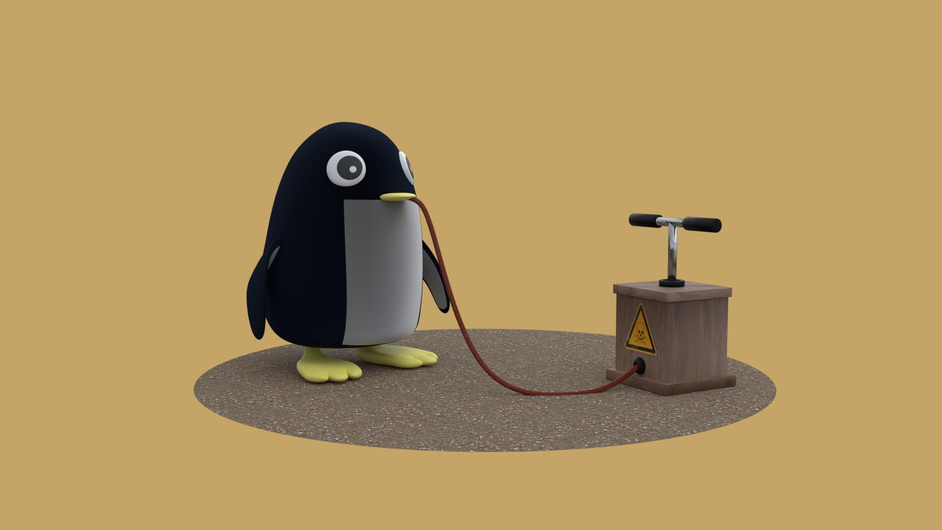 起爆装置につながれたペンギン