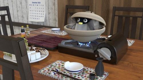 鍋料理と土鍋の中のペンギン