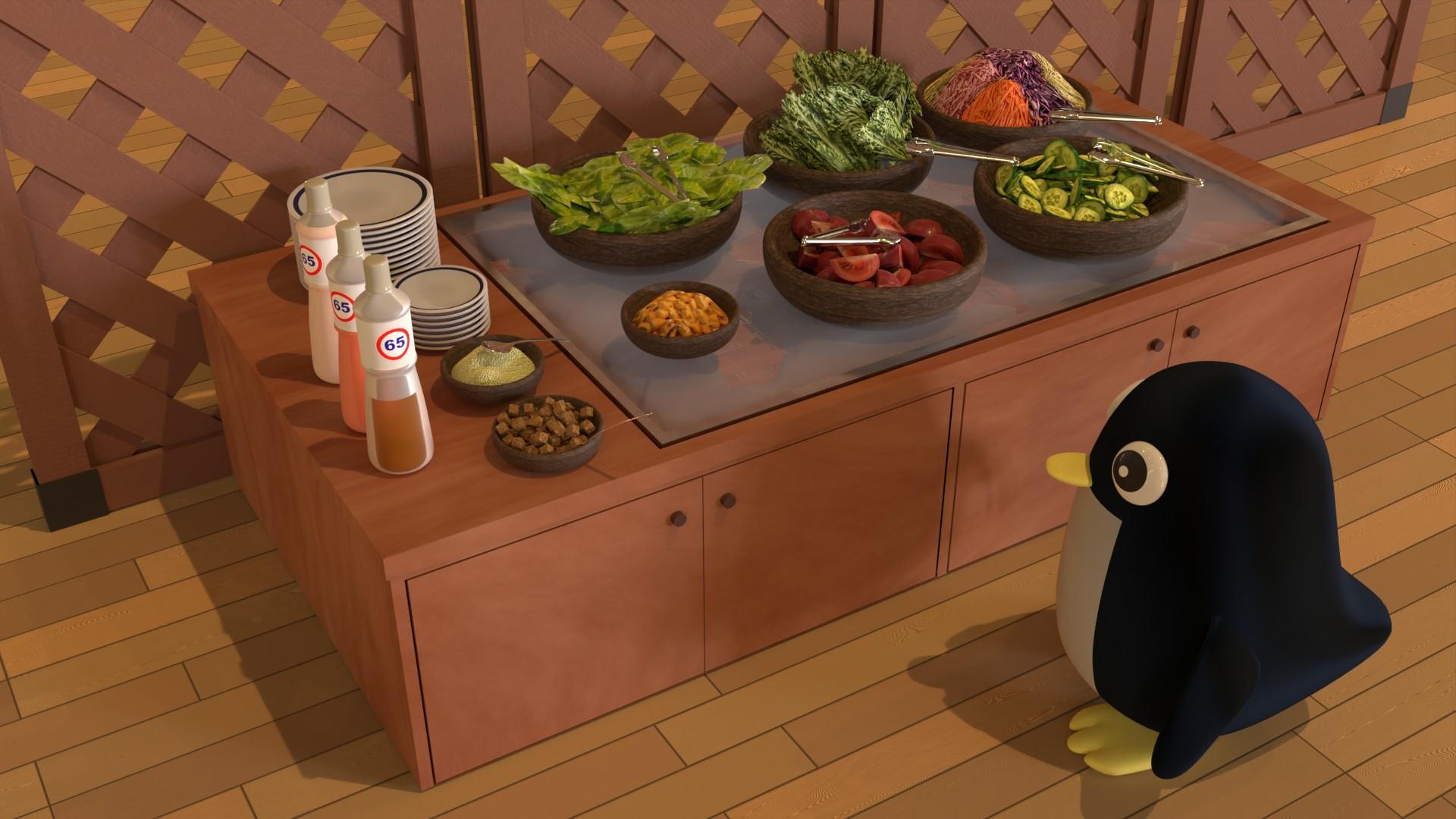 サラダバーとペンギン