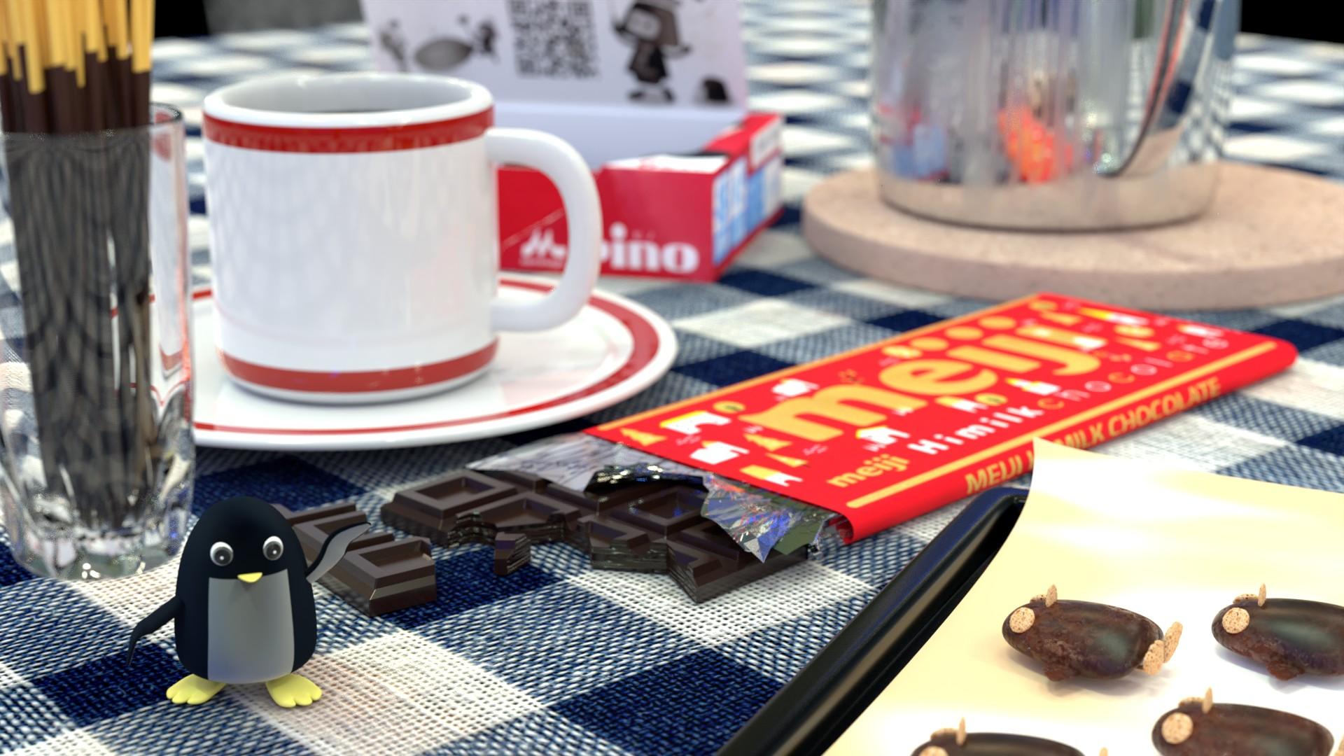 チョコレートに囲まれたぺんぎんさん