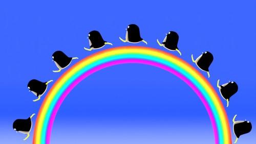 虹を駆けるぺんぎんさん