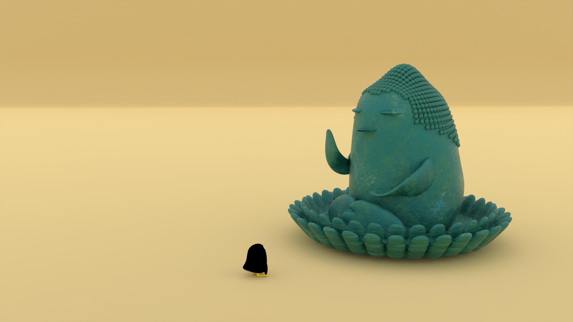 巨大仏像を見上げるぺんぎんさん
