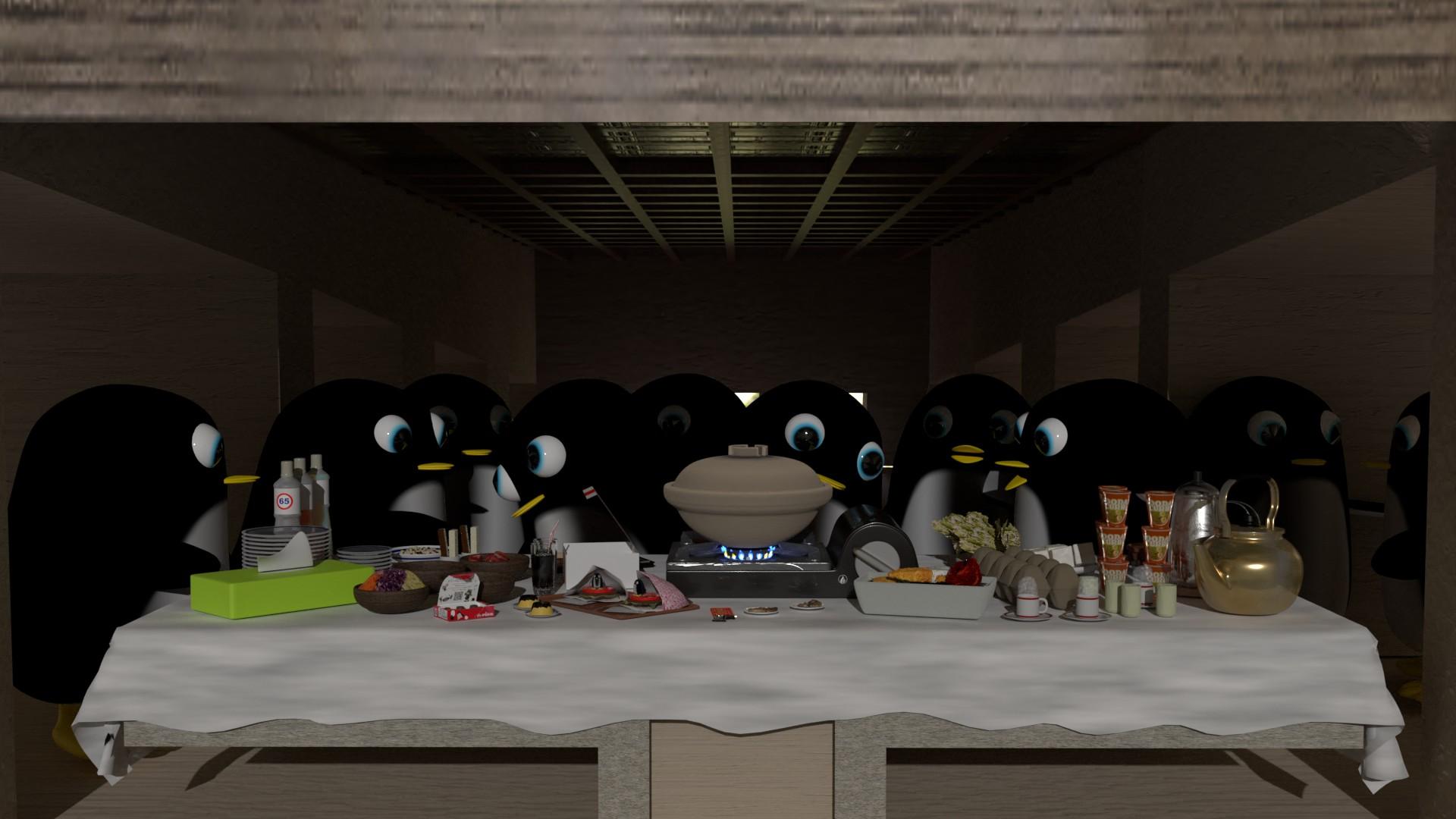 最後の晩餐をするぺんぎんさんたち