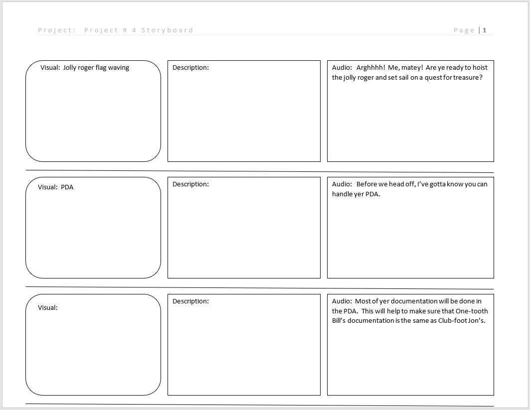 Project # 4 Storyboard