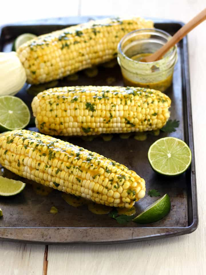 Toaster Oven Baked Corn On The Cob is tender, sweet and juicy. It's the perfect way to make corn when you're cooking for two.