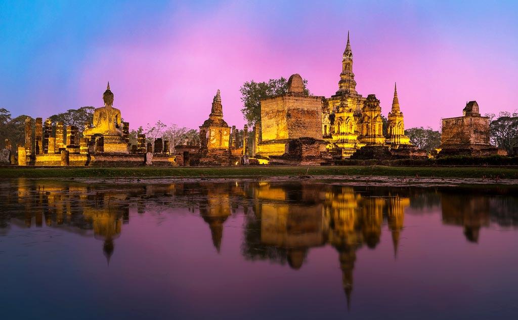 Ayutthaya at night, seen from long-tail boat