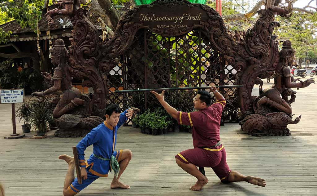 Martial arts being performed in cultural show at Sanctuary of Truth Thailand