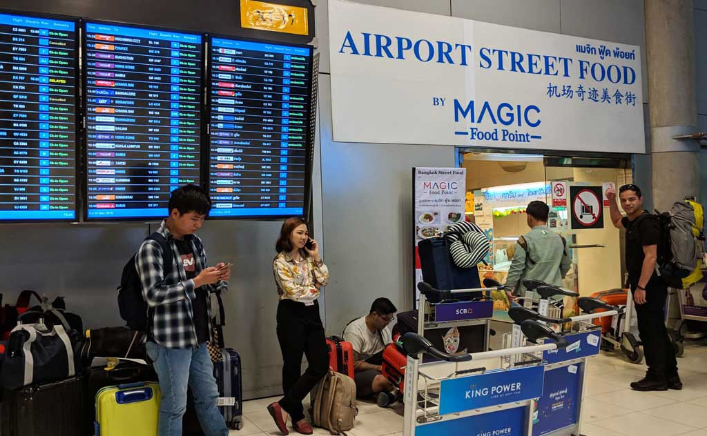 Airport Street Food in Suvarnabhumi Airport is a great place to enjoy a meal while you wait for your bus from Bangkok to Pattaya