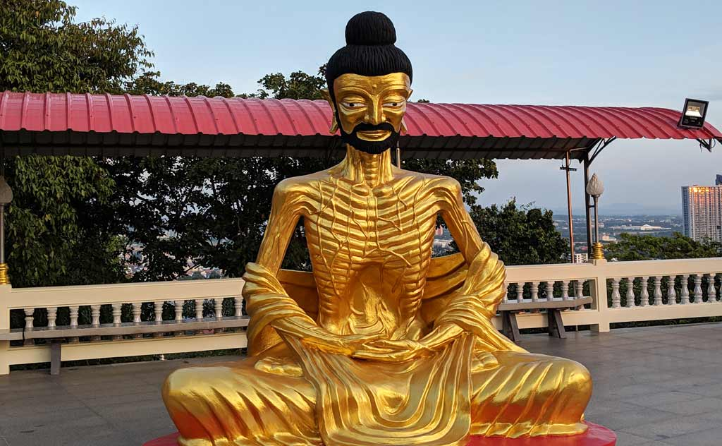 A gold painted Buddha image in Wat Phra Yai Pattaya