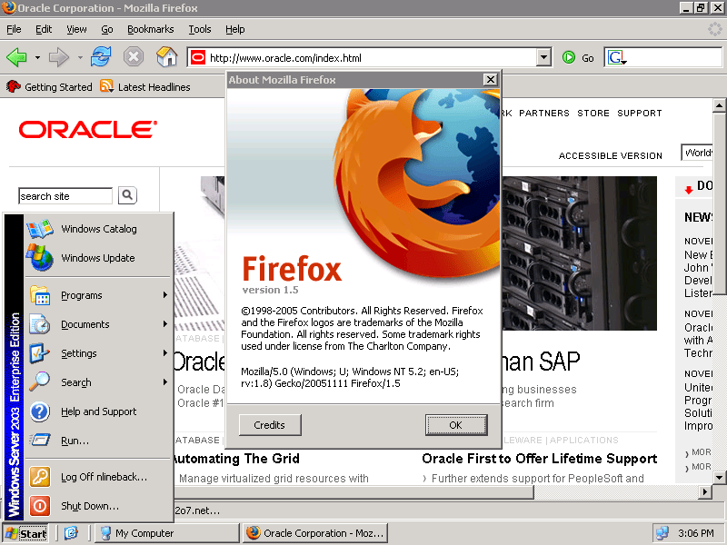 Firefox on Windows 2003 Server