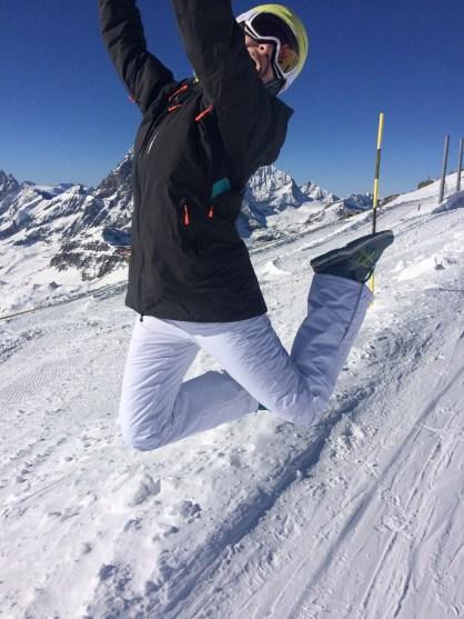 Jumping for joy by the Matterhorn.