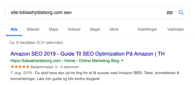 Site search on Google to find keyword cannibalization in SEO