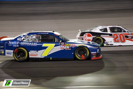 Justin Allgaier battles Christopher Bell for the lead late in the Xfinity Series race at Texas. Photo Credit: Daniel Nelson/TobyChristie.com