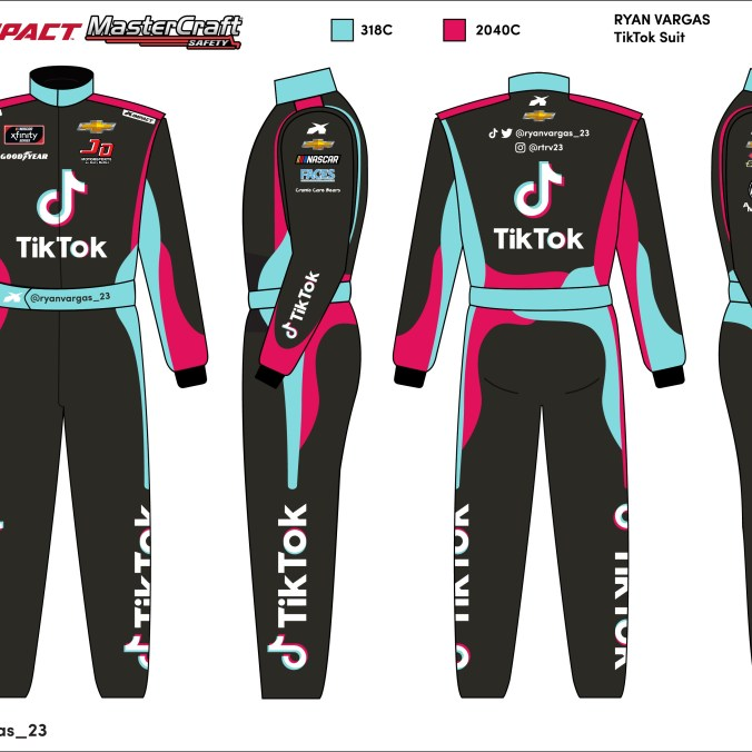 The TikTok firesuit that Ryan Vargas will adorn for the final six races of the season. (PC : Ryan Pistana)