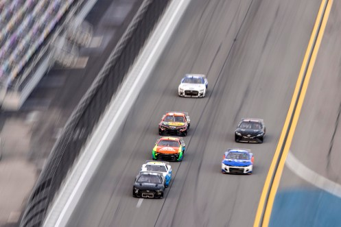 DAYTONA BEACH, FLORIDA - SEPTEMBER 07: Joey Logano, Driver of the #22 NASCAR Next Gen car, leads the field during the NASCAR Cup Series test at Daytona International Speedway on September 07, 2021 in Daytona Beach, Florida. (Photo by James Gilbert/Getty Images)