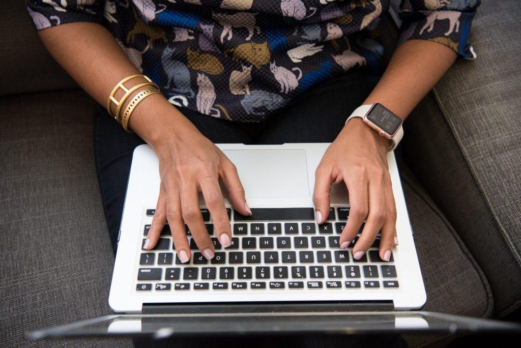 teacher on a computer