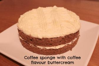 Coffee sponge with coffee flavour icing sugar