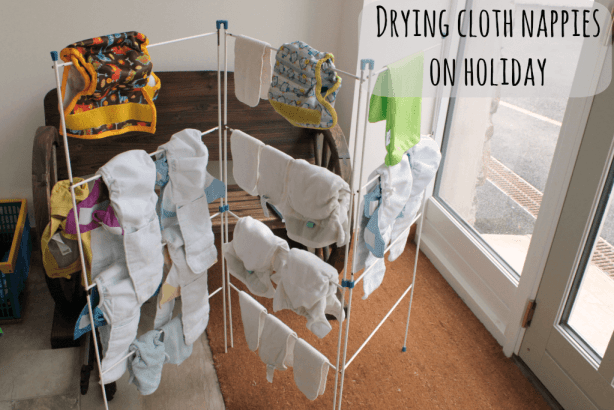 Drying cloth nappies on holiday
