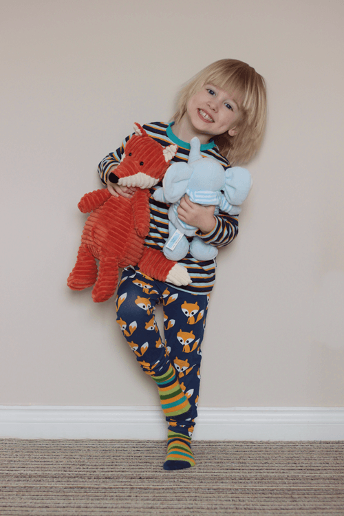 Maxomorra fox leggings with matching stripey top and socks