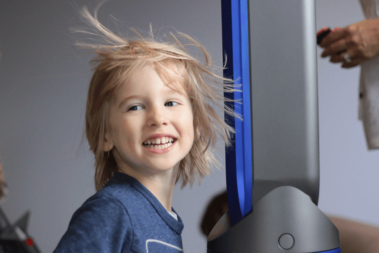 Toby going rockstar with the Dyson Pure Cool Link Tower Air Purifier