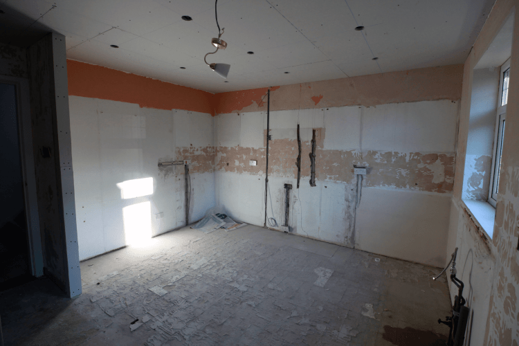 During the kitchen diner renovation - an empty room