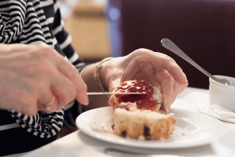 Jam first on the scone