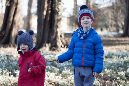 Toby and Gabe in the snowdrops