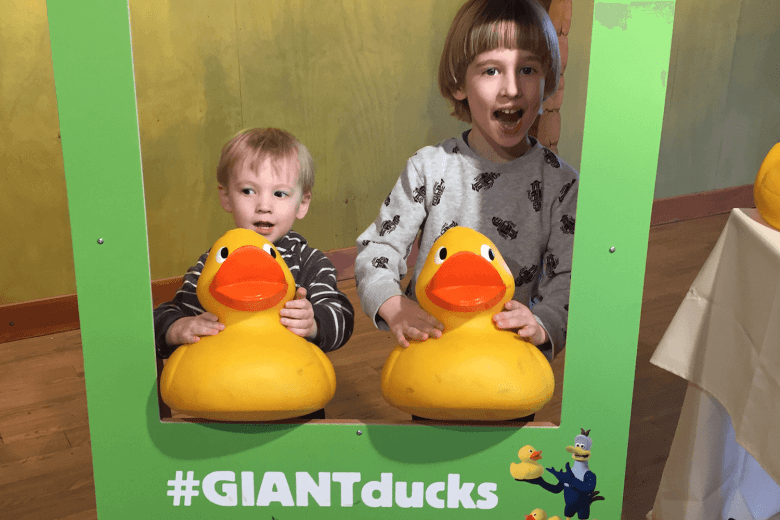 Toby and Gabe found all the giant ducks at Martin Mere