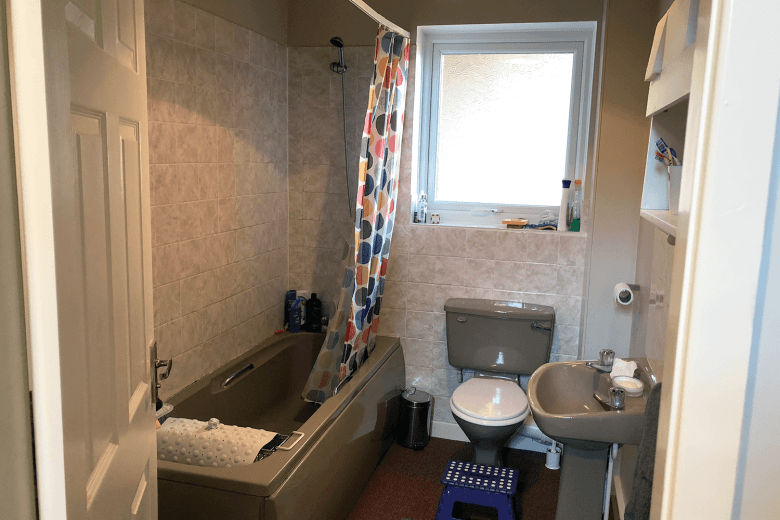 Our manky brown bathroom in need of improvement